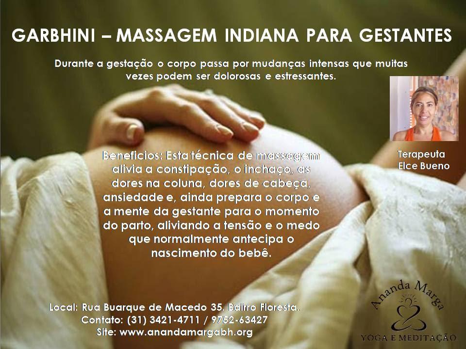 MASSAGEM PARA GRÁVIDAS – GARBHINI SHANTI  As mulheres grávidas e os bebês podem receber massagens especiais para dores no corpo, inchaço e alívio do estresse. Durante a gestação o corpo passa por mudanças intensas que muitas vezes podem ser dolorosas e estressantes. Para as mulheres grávidas poderem relaxar e vivenciar esta fase com maior prazer, a massagem indicada é a Garbhini Shanti. Esta técnica de massagem alivia a constipação, o inchaço, as dores na coluna, dores de cabeça, ansiedade e, ainda prepara o corpo e a mente da gestante para o momento do parto, aliviando a tensão e o medo que normalmente antecipa o nascimento do bebê. COMO É APLICADA A TÉCNICA DE MASSAGEM GARBHINI SHANTI A massagem para grávidas Garbhini Shanti é aplicada com o auxílio de óleo de amêndoas e óleo de coco aquecidos, para relaxar os músculos e promover sensação de conforto. Os óleos utilizados na aplicação da massagem Garbhini Shanti são aromatizados, e garantem relaxamento profundo, além de hidratação duradoura da pele.